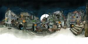 神人手繪「台灣街景」全景插畫 超強透視讓網友全跪了