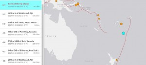 斐濟外海規模6.4強震   暫未發布海嘯警報