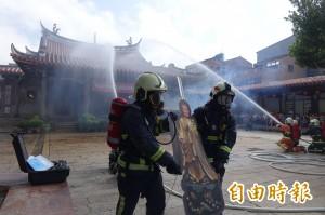 國寶級鹿港龍山寺消防演練 搶救文物任務編組