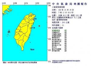 東部外海發生規模5.1地震!最大震度3級