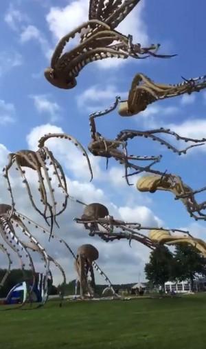 超逼真!荷蘭風箏節影片曝光 網友:章魚游上天了