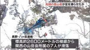滑落300公尺 日本八岳連峰山難3死4輕重傷