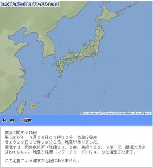 地牛翻身!沖繩午夜規模4.3地震 震央距台灣200公里