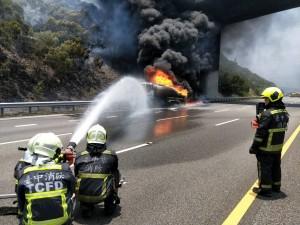 油罐車突起火恐爆炸 國三清水、大甲段雙向車道封閉管制