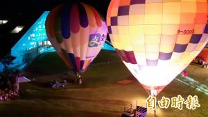 熱氣球光雕秀 台東大學圖資館變成「光之金字塔」