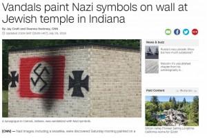 美猶太教堂外被噴納粹符號   副總統彭斯:為這行為感到噁心