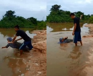 只因不給買機車……印尼逆子推母下河「放水流」