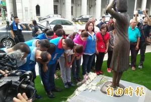 日人作勢腳踹慰安婦銅像 高思博促比照八田銅像案偵辦