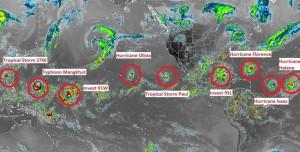 九星連珠!北半球9個熱帶氣旋 一張照片看出有多狂