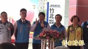 楊文科喊當選月發3000元老人年金 蓋竹東國民運動中心