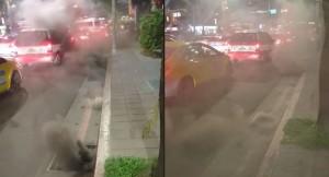影片曝光!台北水溝蓋竄黑煙 網友:想起高雄氣爆