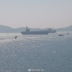 美航母「雷根號」抵香港 進港畫面曝光!