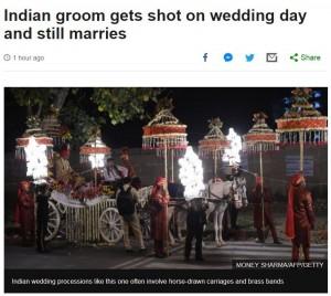 婚禮前中槍 新郎肩膀卡彈 照娶老婆不誤