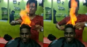 翻炒鐵板燒?客人整頭著火 印度超狂設計師這樣理髮