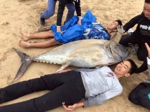 狂!2中學生下海抓魚 用空手道肉搏巨大黑鮪