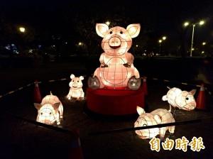 竹北燈會「樂活滿竹 豬事吉」 文化公園明點亮