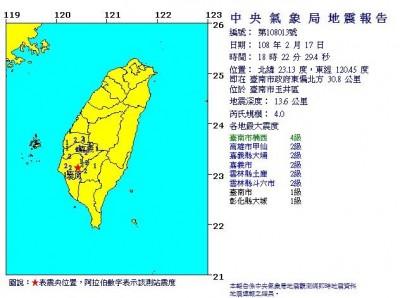 地牛翻身!台南玉井傍晚發生規模4.0地震 最大震度4級