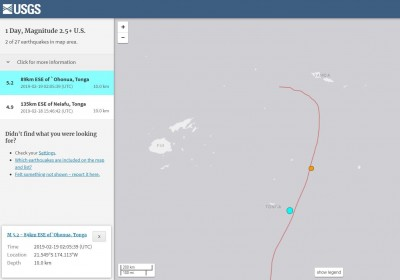 東加近海5.2極淺層強震 震源深度僅10公里