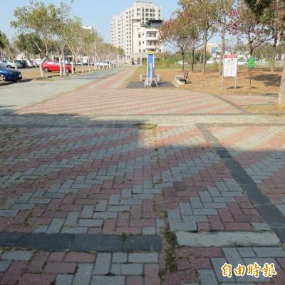 公園人行道太寬當車道?駕駛貪方便穿越嚇到散步民眾