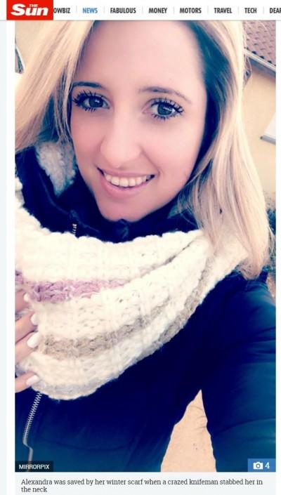 她街頭被莫名狂刺11刀 靠200元廉價圍巾救一命