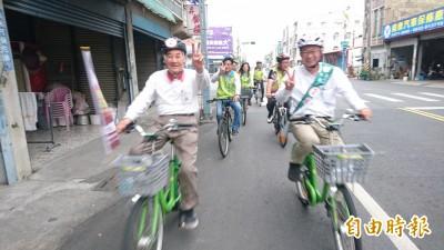 陪騎單車助選郭國文 85歲陳唐山:光榮傳統要維持住