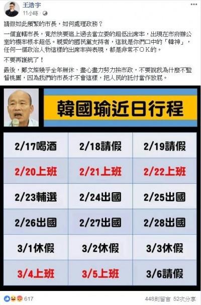 曬行程表質疑韓國瑜頻請假 王浩宇:把人民託付當放屁