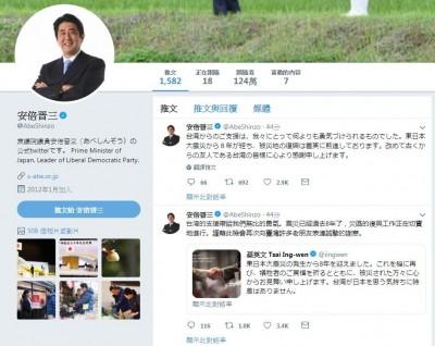 轉貼小英推特!安倍晉三中文發推:感謝台灣給我們勇氣