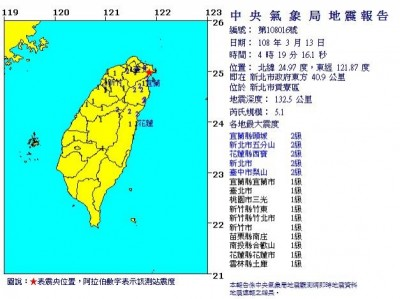 凌晨貢寮5.1強震 氣象局:板塊隱沒作用所致