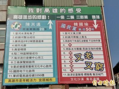高雄街頭掛綠20年政績 看板主人嗆韓國瑜「口號治市」