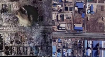 恐怖!江蘇化工廠爆炸空拍照曝光 宛若遭隕石轟炸