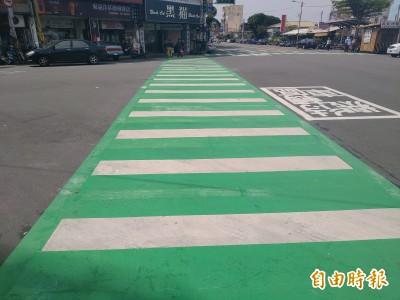 安全更好走 苑裡劃設綠色行人穿越道線