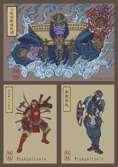 沒爆雷!復仇者聯盟4今上映 日本插畫家把英雄變浮世繪