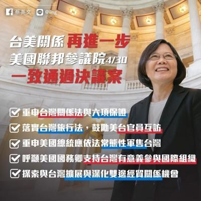 美再確認台灣關係法承諾 蔡總統:台美夥伴關係越來越穩固