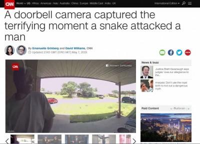 驚!開門瞬間張嘴蛇迅速猛攻 男子被咬頭痛叫倒退三步
