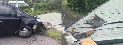 天降護欄砸凹屋頂 瞎!被休旅車撞飛噴來的…