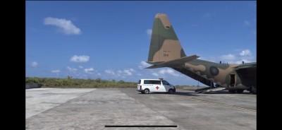 太平島人道救援演練 加護型救護車直上C-130後送