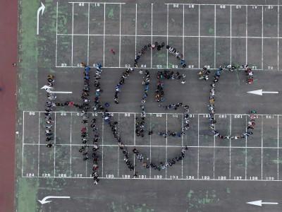 響應524全球氣候行動 弘光科大300師生排字HK1.5℃