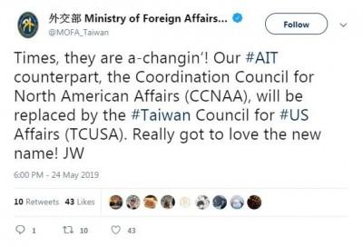 台灣入名 「北美事務協調委員會」更名「台灣美國事務委員會」