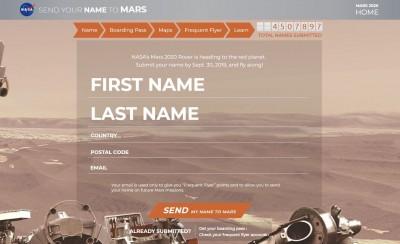 快上NASA網站申請 讓你免費「名留火星」!