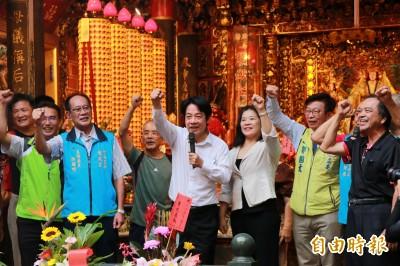 壯大台灣冒雨掃街苗栗 賴清德:聲援香港護台灣主權