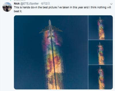 不是合成! 天空驚見「彩虹飛機雲」 攝影師拍下夢幻美景
