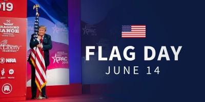 川普生日熊抱美國旗 網戲稱:國旗剛用了#MeToo標籤
