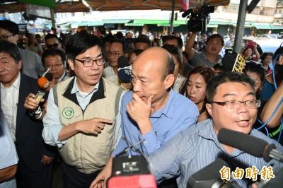 韓國瑜摀嘴問陳其邁這問題 網友全傻眼「到底誰市長?」