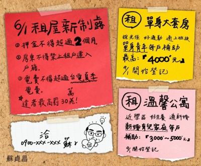 蘇揆臉書PO文宣傳租金補貼  網哀號:院長,40歲以上為何沒補助?