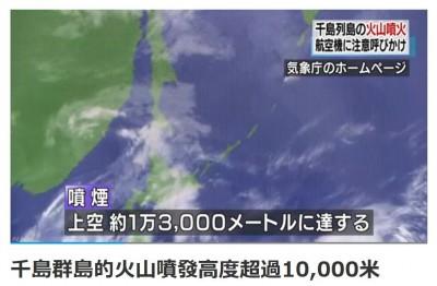 日本千島群島火山噴發1.3萬公尺 山火灰飄將飄至阿留申