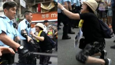 鼻酸!香港媽媽跪地求住手... 港警推開朝人群爆打