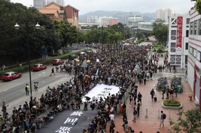 反送中》遍地開花!香港沙田區遊行人潮過多提前出發