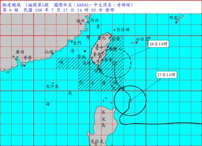 陸警擴大至花蓮!丹娜絲颱風路徑偏東 中心登陸機率降低