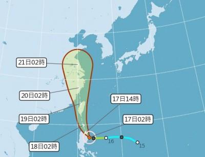 丹娜絲颱風直撲台灣 最快今午發佈陸警