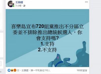 喜樂島組黨擬推總統候選人 獨派網友調查結果不意外…